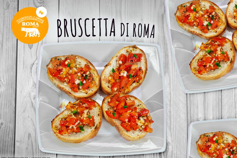 frische Bruscetta di Roma -eine herzhaft vegetarische Vorspeise