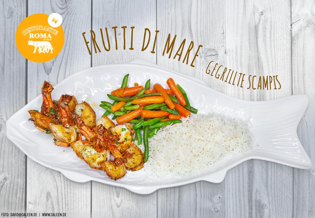 gegrillte Scampis mit Gemüse und locker luftigem Reis